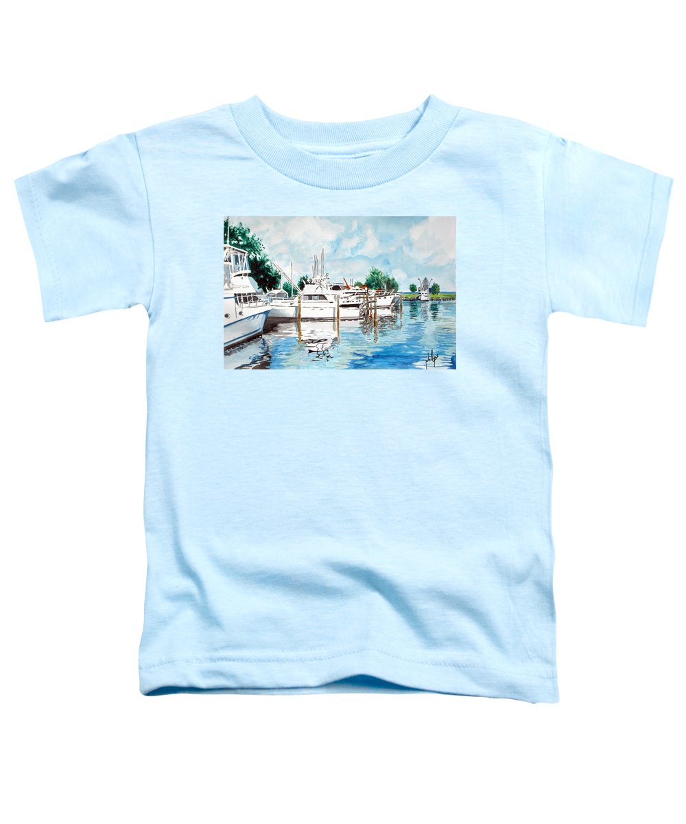 Boats Harbor Coastal Nautical Toddler T-Shirt featuring the painting Safe Harbor by Jim Phillips