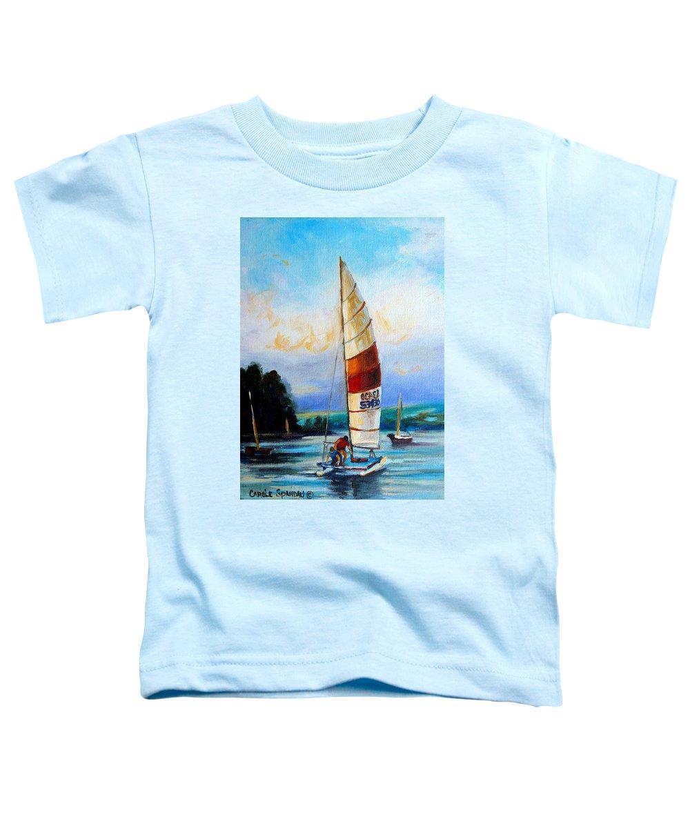 Sail Boats On The Lake Toddler T-Shirt featuring the painting Sail Boats On The Lake by Carole Spandau