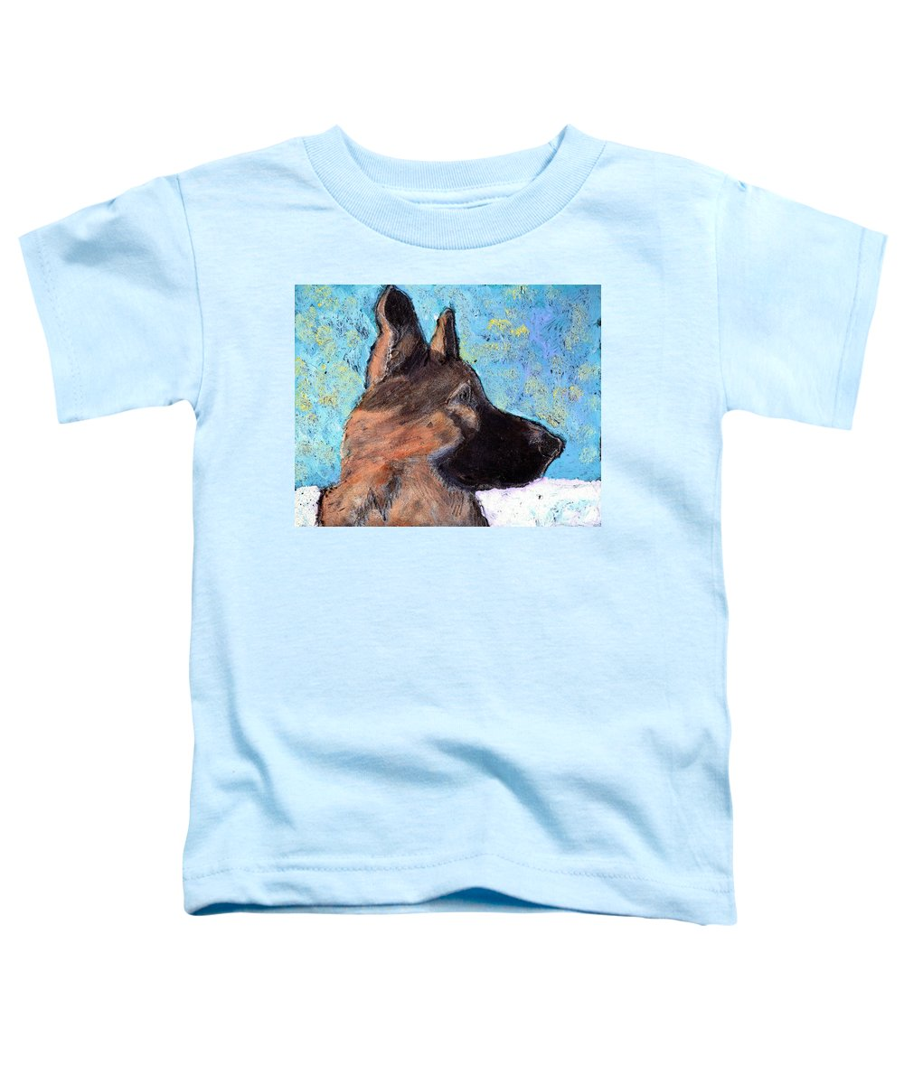 Dog Toddler T-Shirt featuring the painting Sarge II by Wayne Potrafka