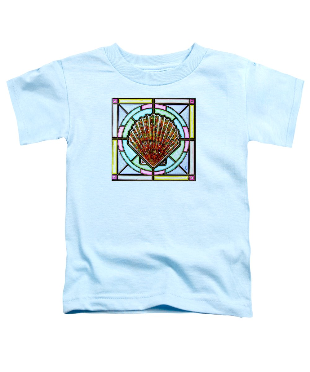 She Shells Toddler T-Shirt featuring the painting Scallop Shell 1 by Jim Harris