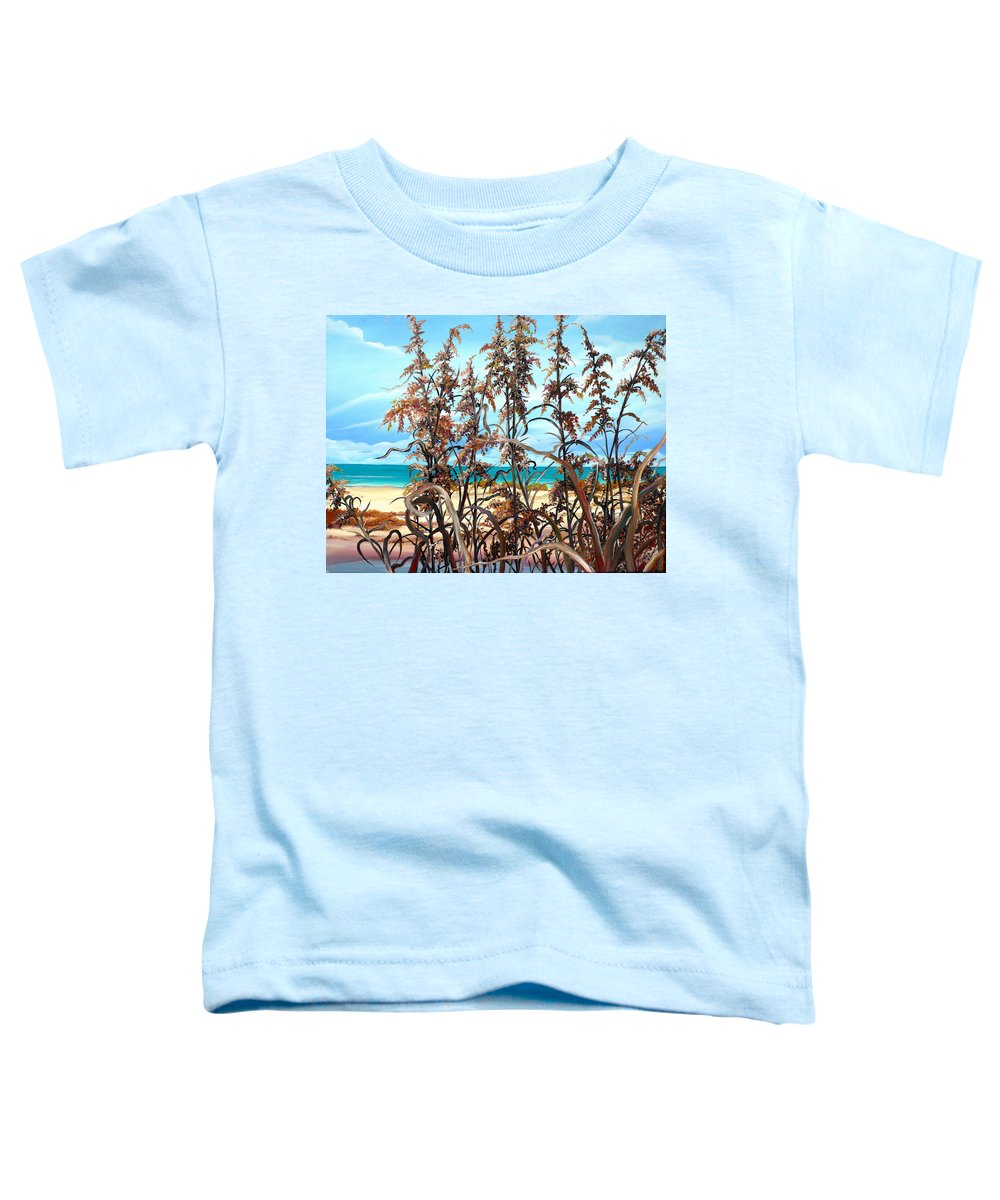 Ocean Painting Sea Oats Painting Beach Painting Seascape Painting Beach Painting Florida Painting Greeting Card Painting Toddler T-Shirt featuring the painting Sea Oats by Karin Dawn Kelshall- Best