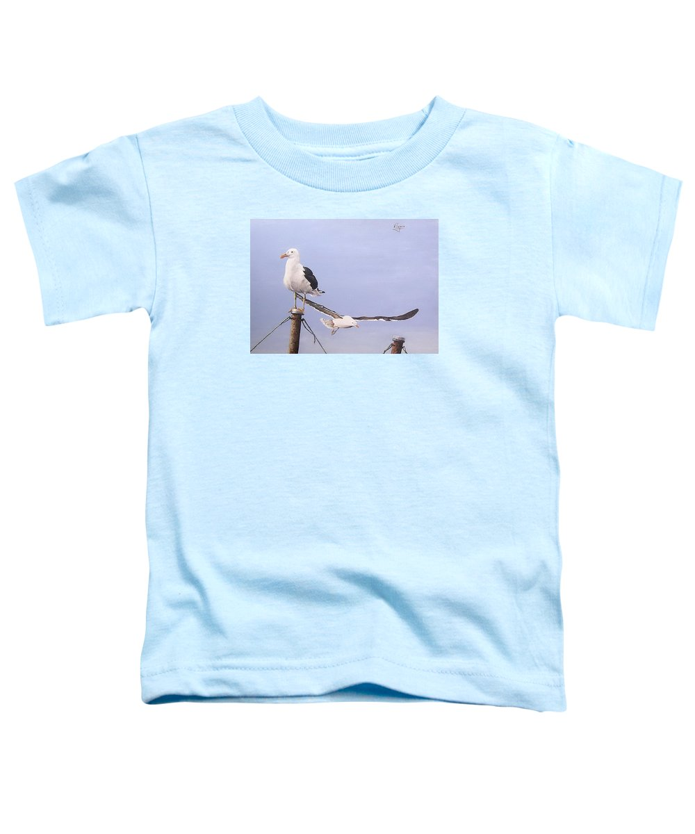 Seascape Gulls Bird Sea Toddler T-Shirt featuring the painting Seagulls by Natalia Tejera
