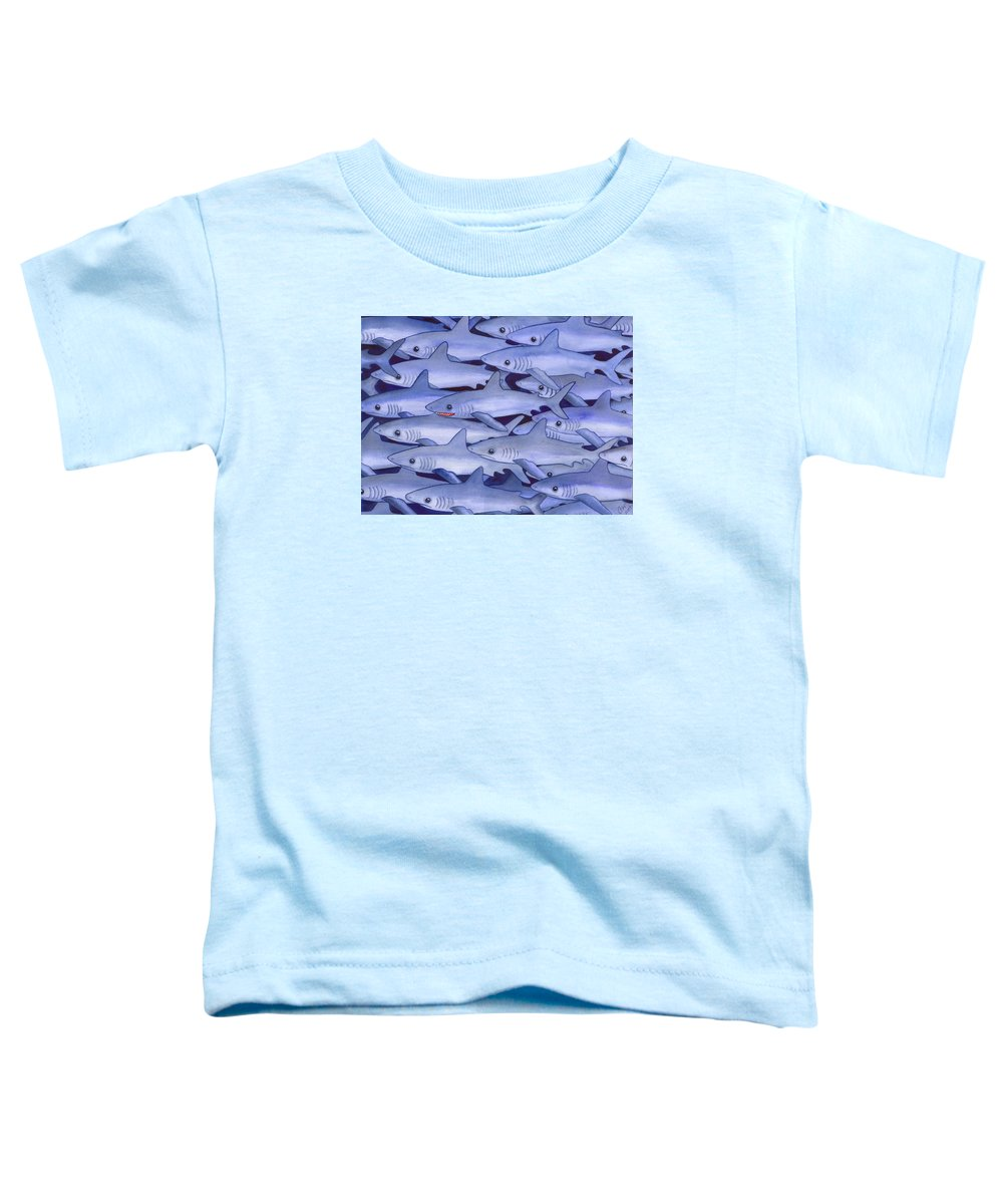 Shark Toddler T-Shirt featuring the painting Sharks by Catherine G McElroy