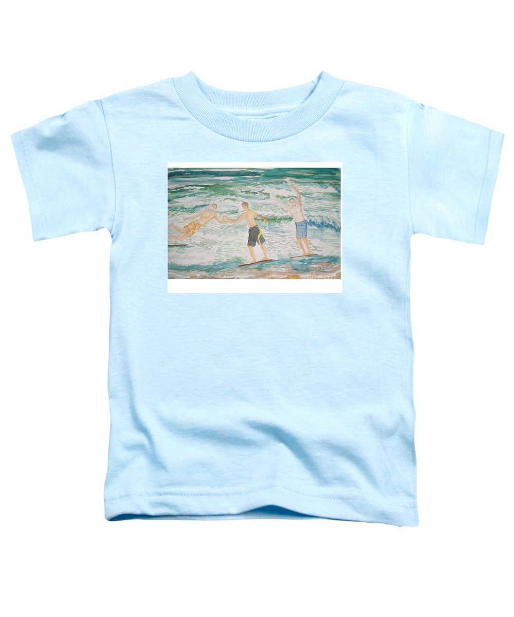 Seascape Toddler T-Shirt featuring the painting Skim Boarding Daytona Beach by Hal Newhouser
