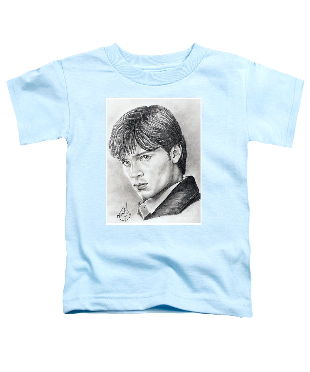 Superman Toddler T-Shirt featuring the drawing Smallville Tom Welling by Murphy Elliott