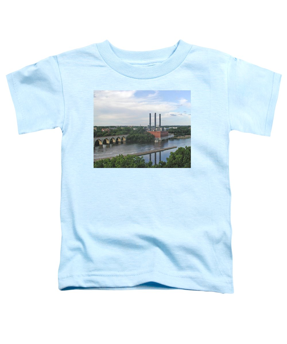 Minneapolis Toddler T-Shirt featuring the photograph Smokestacks On The Mississippi by Tom Reynen