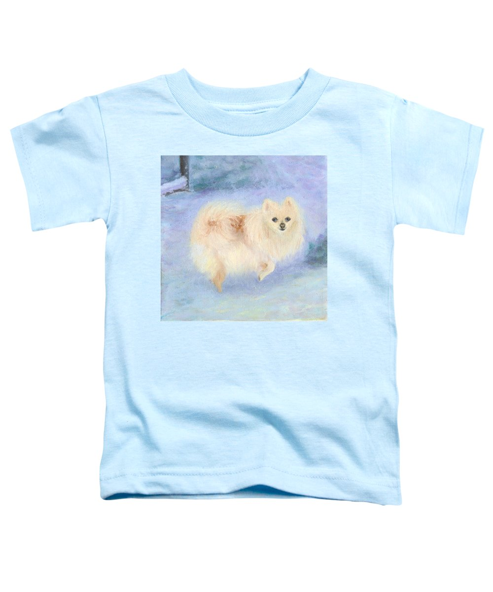 Dog Toddler T-Shirt featuring the painting Snow Angel by Paula Emery