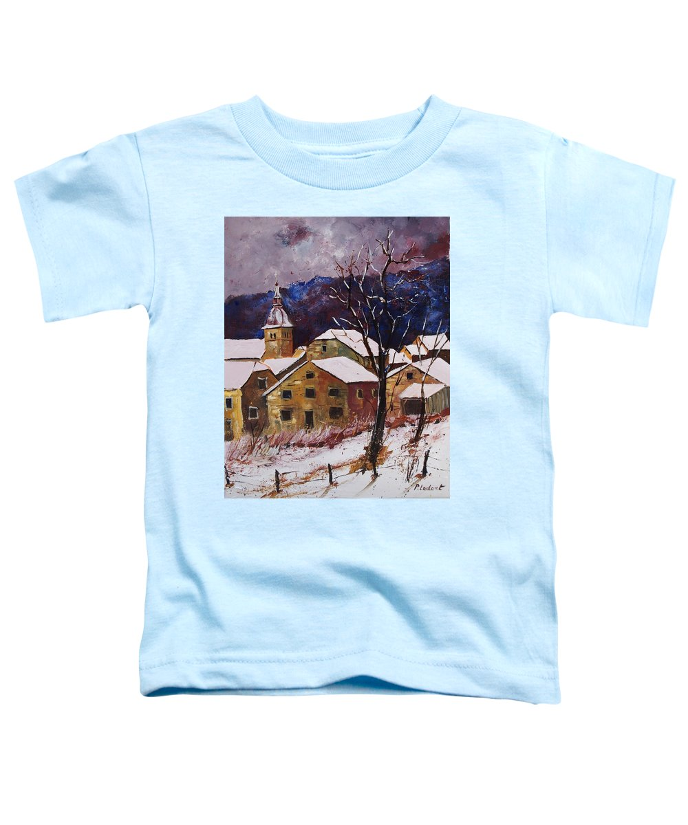 Landscape Toddler T-Shirt featuring the painting Snow In Chassepierre by Pol Ledent
