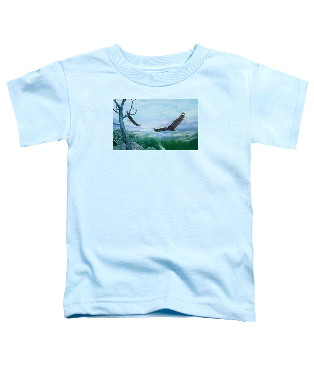 Eagles;birds;river Valley;mountains;sky; Toddler T-Shirt featuring the painting Soaring by Lois Mountz