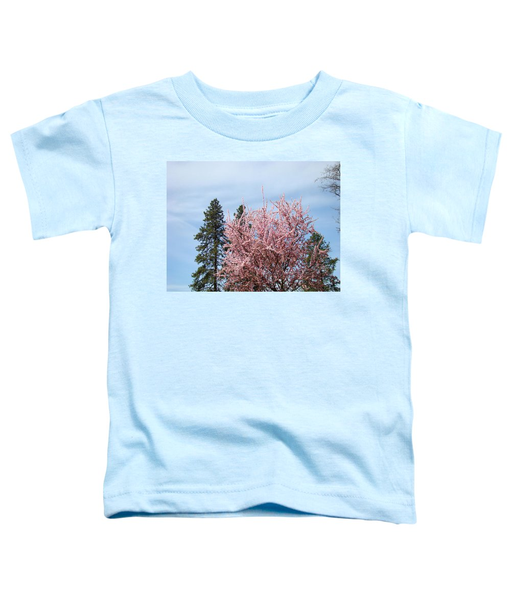 Trees Toddler T-Shirt featuring the photograph Spring Trees Bossoming Landscape Art Prints Pink Blossoms Clouds Sky by Baslee Troutman