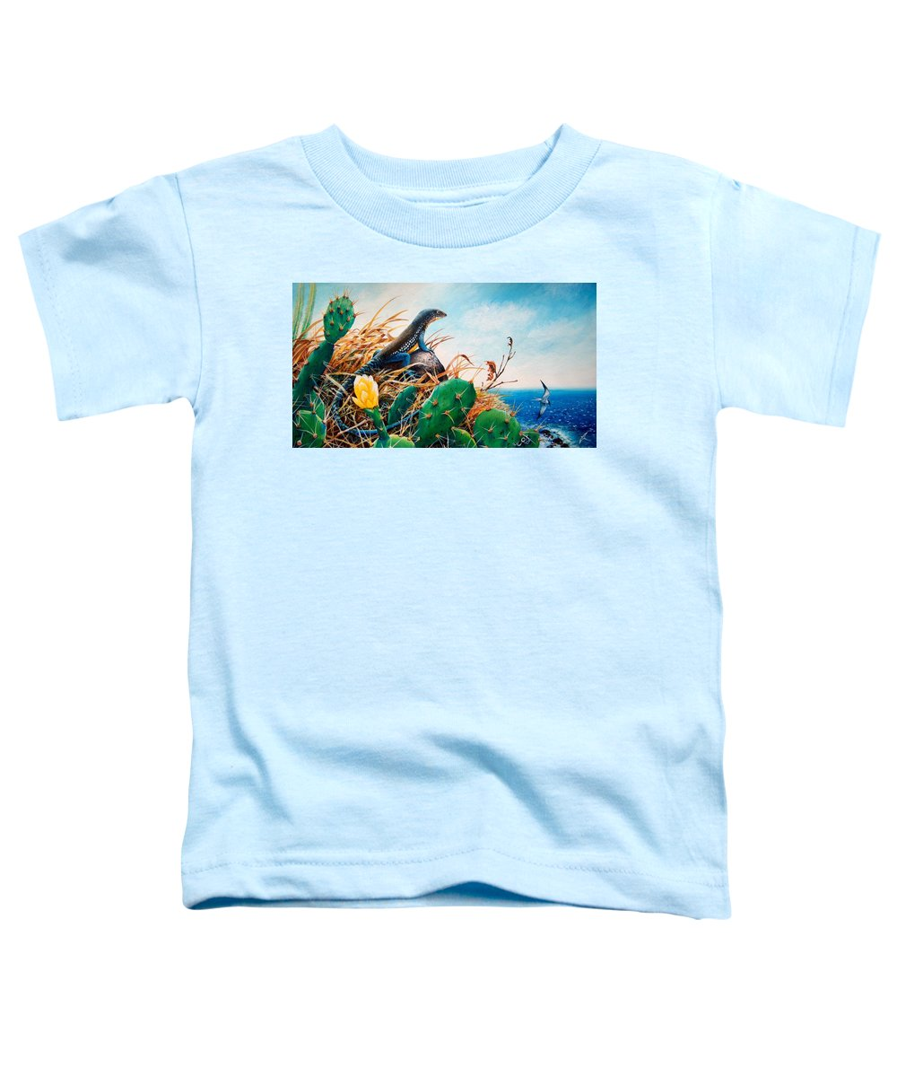 Chris Cox Toddler T-Shirt featuring the painting St. Lucia Whiptail by Christopher Cox