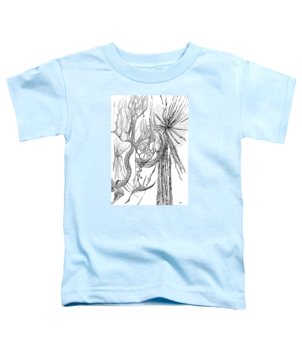 Blackandwhite Black And White Abstract Toddler T-Shirt featuring the drawing Starburst by Charles Cater