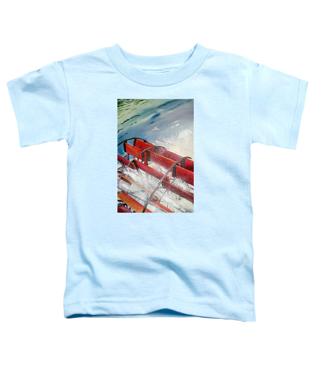 Paddlewheeler Toddler T-Shirt featuring the painting Sternwheeler Splash by Karen Stark