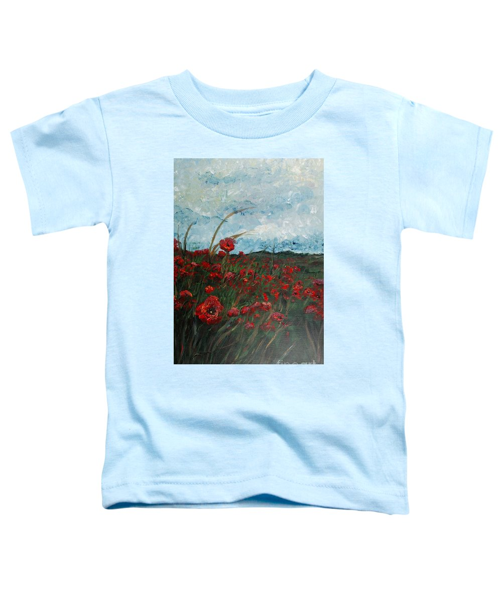 Poppies Toddler T-Shirt featuring the painting Stormy Poppies by Nadine Rippelmeyer