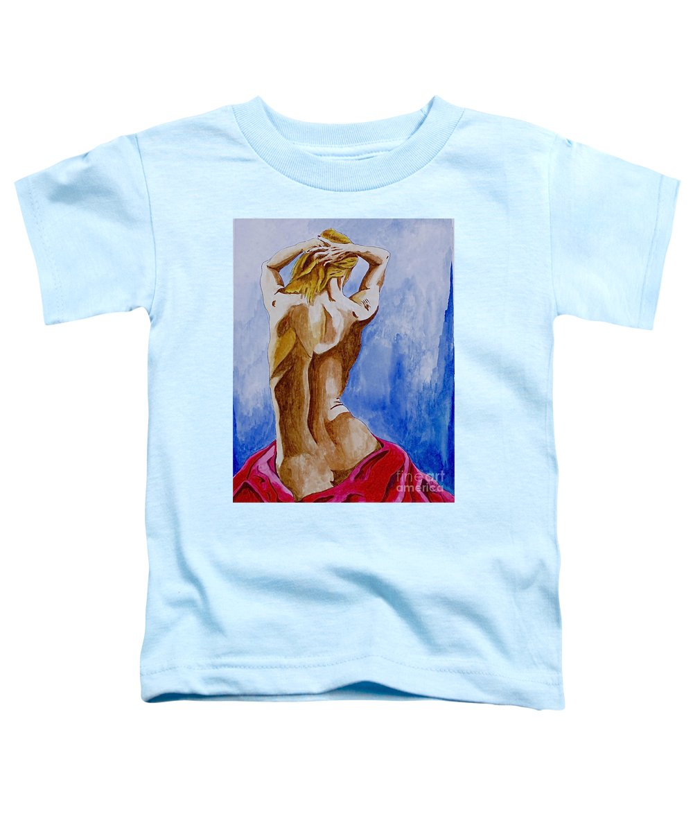 Nude By Herschel Fall Very Hot Nude Toddler T-Shirt featuring the painting Summer Morning by Herschel Fall