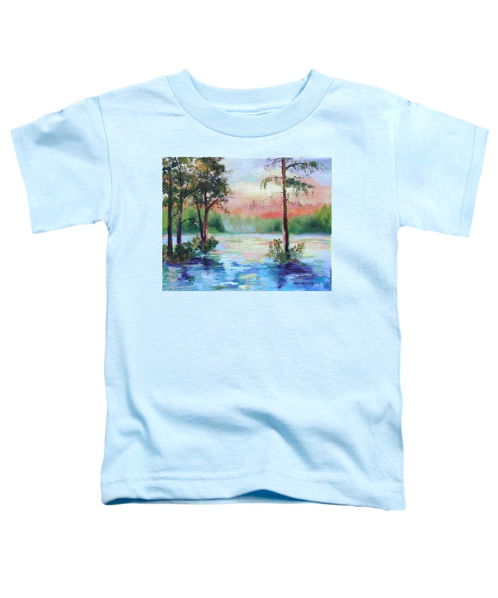 Sunset Toddler T-Shirt featuring the painting Sunset Bayou by Ginger Concepcion