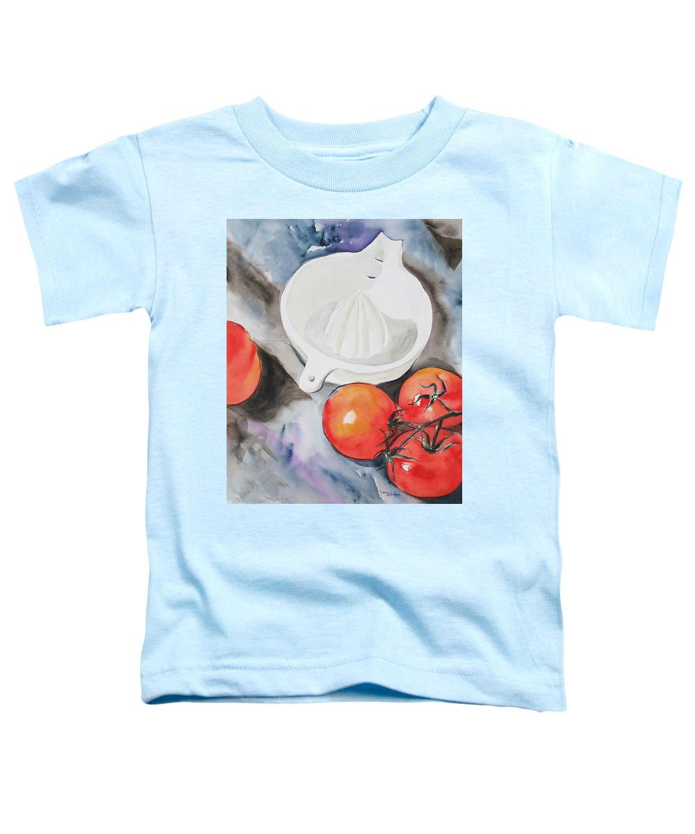 Tomatoes Toddler T-Shirt featuring the painting Sunshine On The Vine by Jean Blackmer