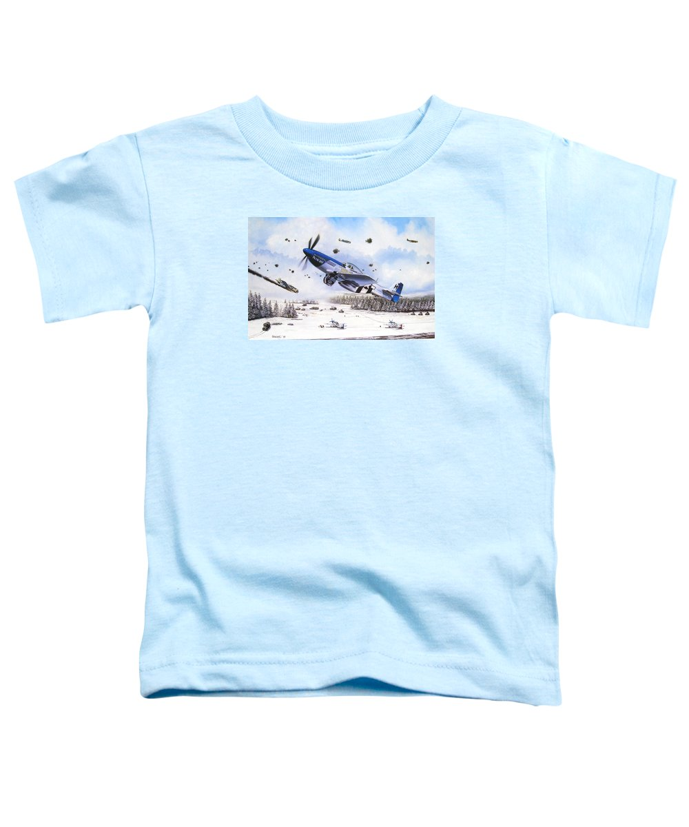 Aviation Toddler T-Shirt featuring the painting Surprise At Asch by Marc Stewart