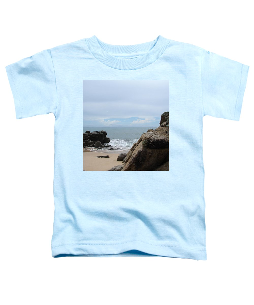 Sand Ocean Clouds Blue Sky Rocks Toddler T-Shirt featuring the photograph The Beach 2 by Luciana Seymour