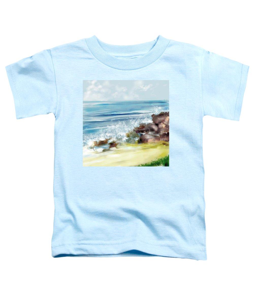 Beach Ocean Water Summer Waves Splash Toddler T-Shirt featuring the digital art The Beach by Veronica Jackson