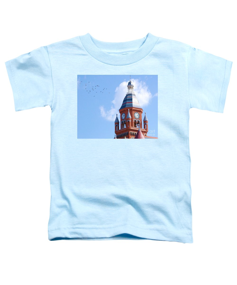 Clock Toddler T-Shirt featuring the photograph The Birds by Debbi Granruth