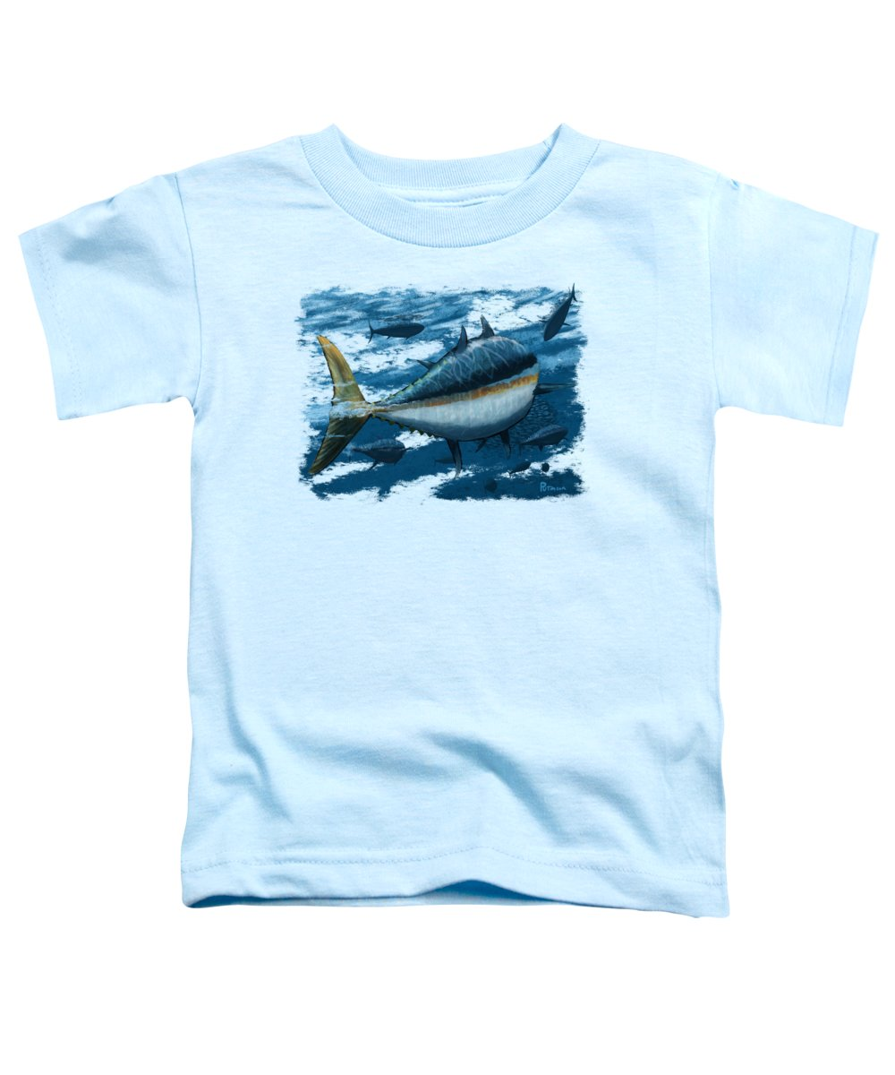 Tuna Toddler T-Shirt featuring the digital art The Chase by Kevin Putman