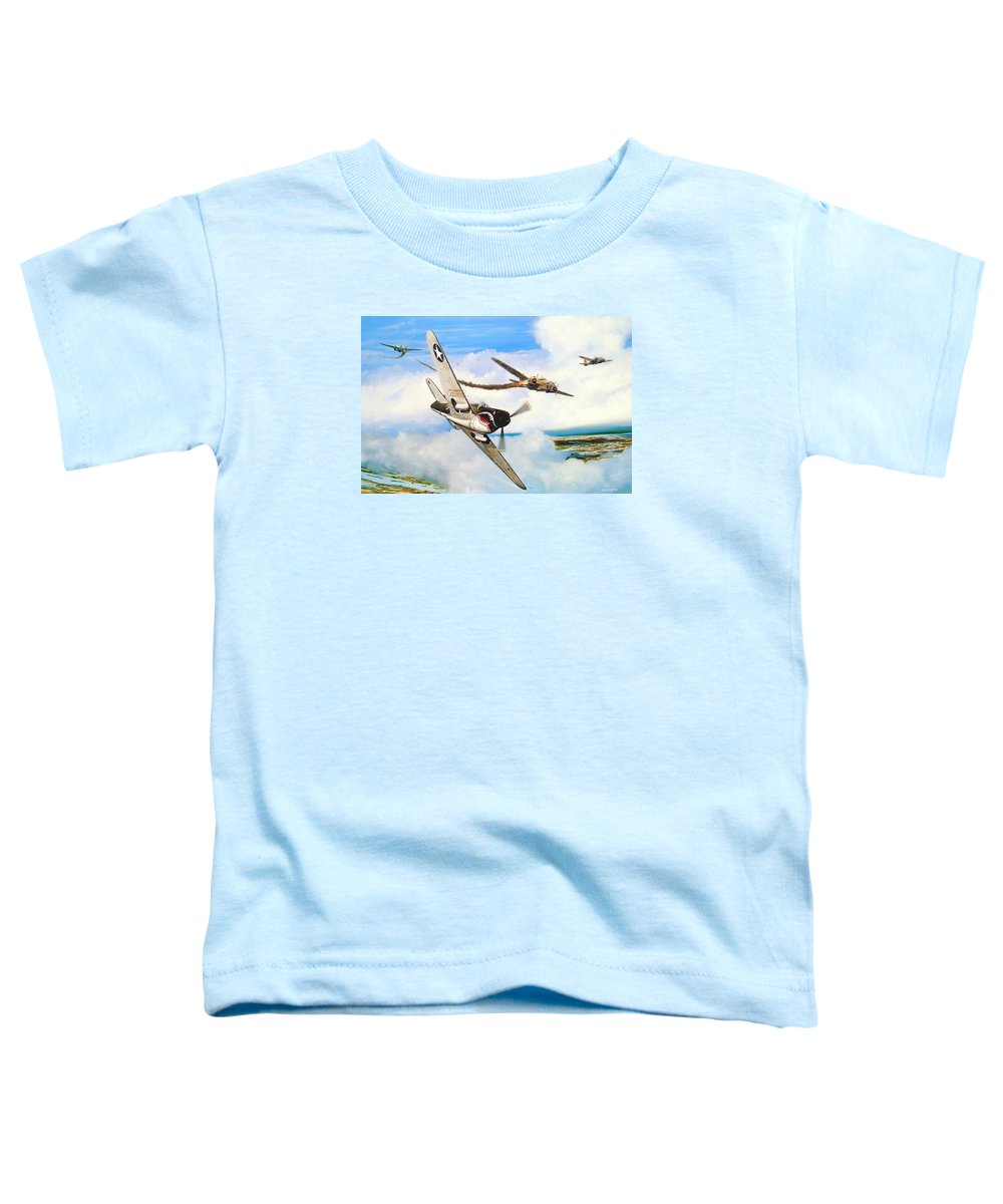 Military Toddler T-Shirt featuring the painting The Day I Owned The Sky by Marc Stewart