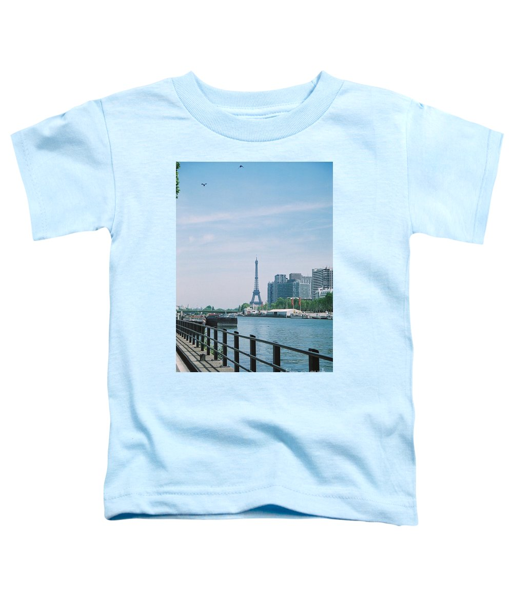 The Eiffel Tower Toddler T-Shirt featuring the photograph The Eiffel Tower And The Seine River by Nadine Rippelmeyer