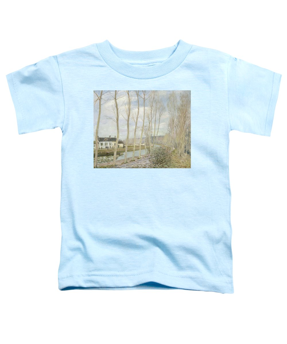Alfred Sisley Toddler T-Shirt featuring the painting The Loing's Canal by Alfred Sisley