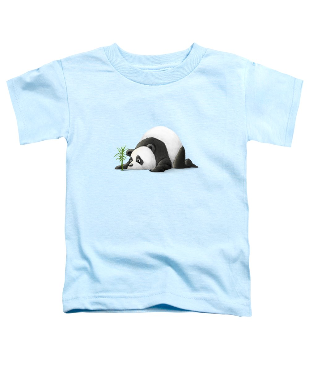 Panda Toddler T-Shirt featuring the digital art The Patient Panda by Michael Ciccotello