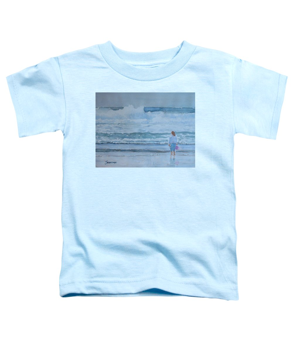 Bucket Toddler T-Shirt featuring the painting The Pink Bucket by Jenny Armitage