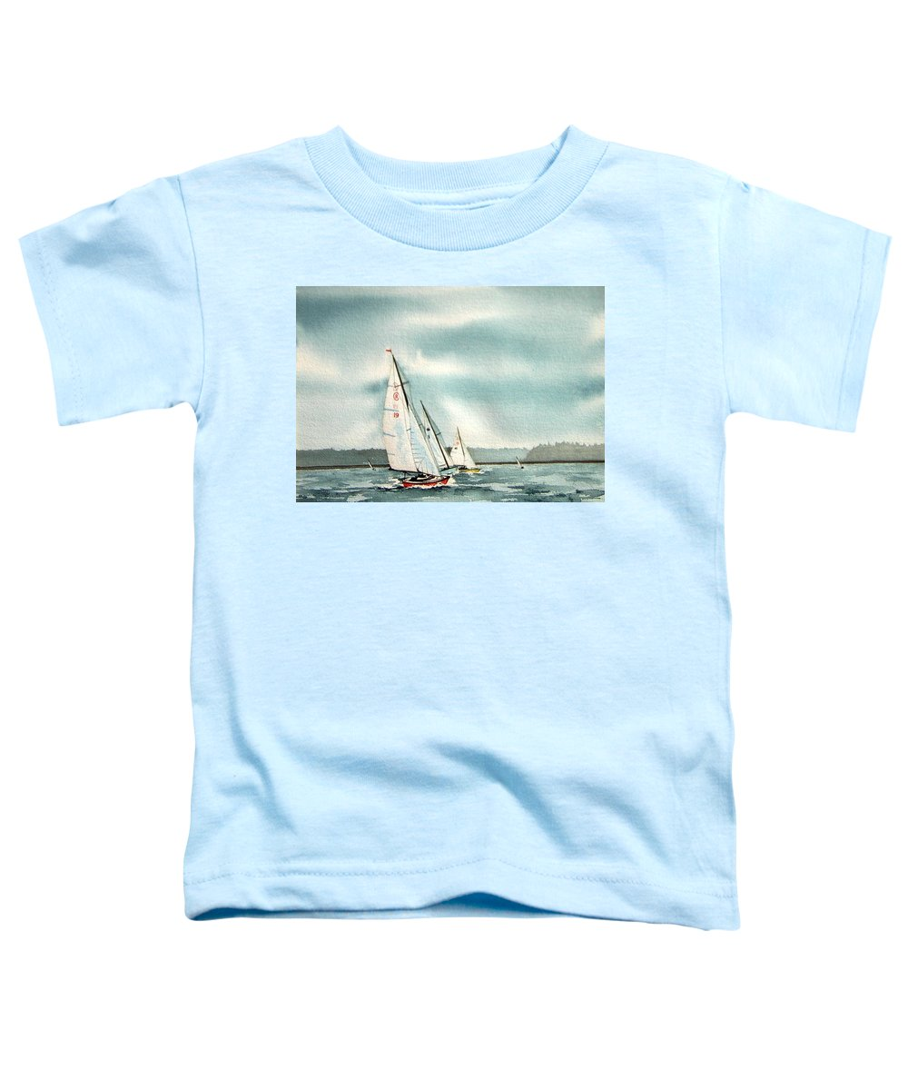 Sailing Toddler T-Shirt featuring the painting The Race by Gale Cochran-Smith
