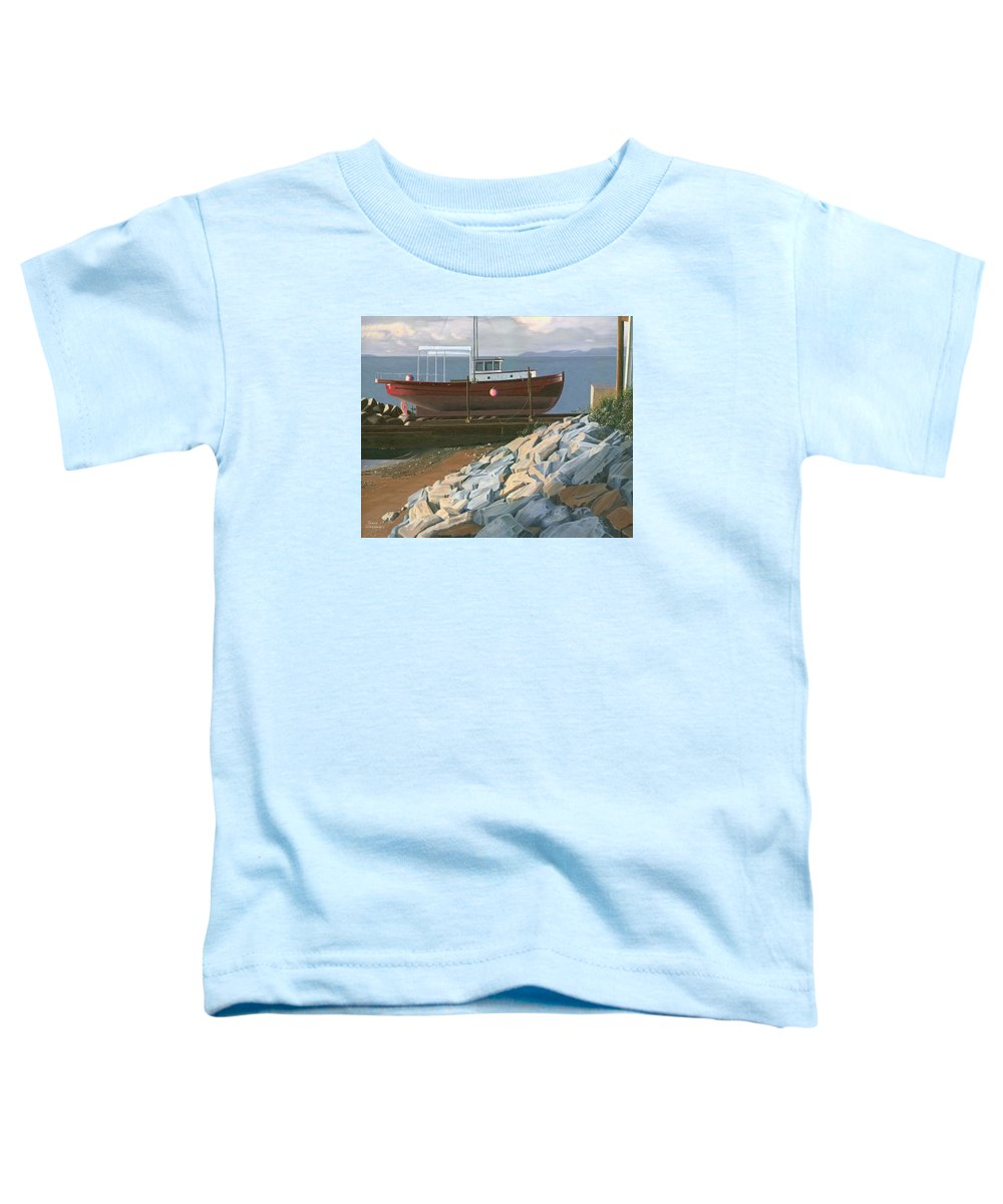 Ship Toddler T-Shirt featuring the painting The Red Troller Revisited by Gary Giacomelli