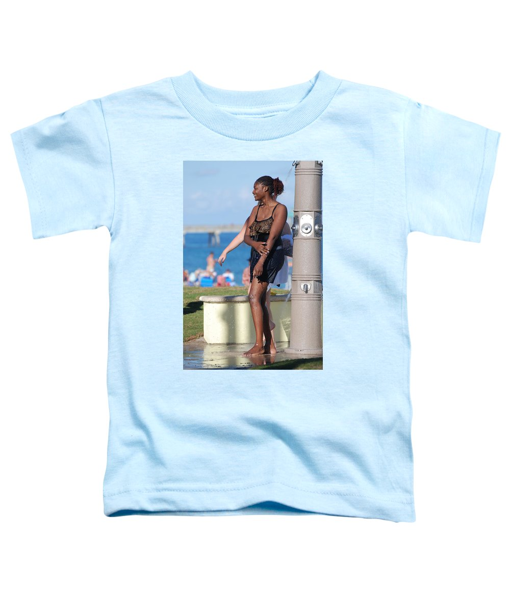Bathing Suit Toddler T-Shirt featuring the photograph Three Arms At The Shower by Rob Hans