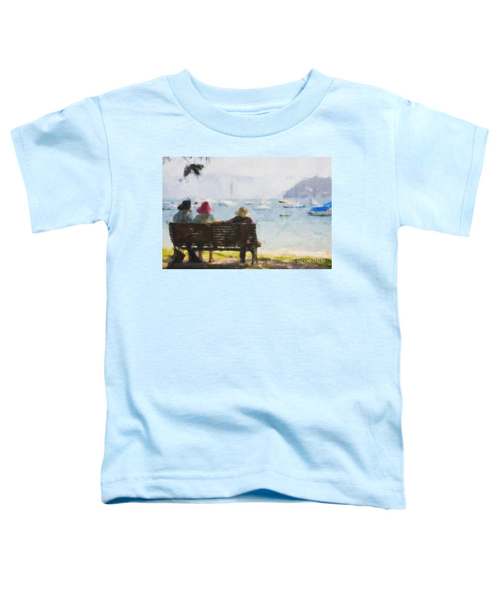 Impressionism Impressionist Water Boats Three Ladies Seat Toddler T-Shirt featuring the photograph Three Ladies by Avalon Fine Art Photography