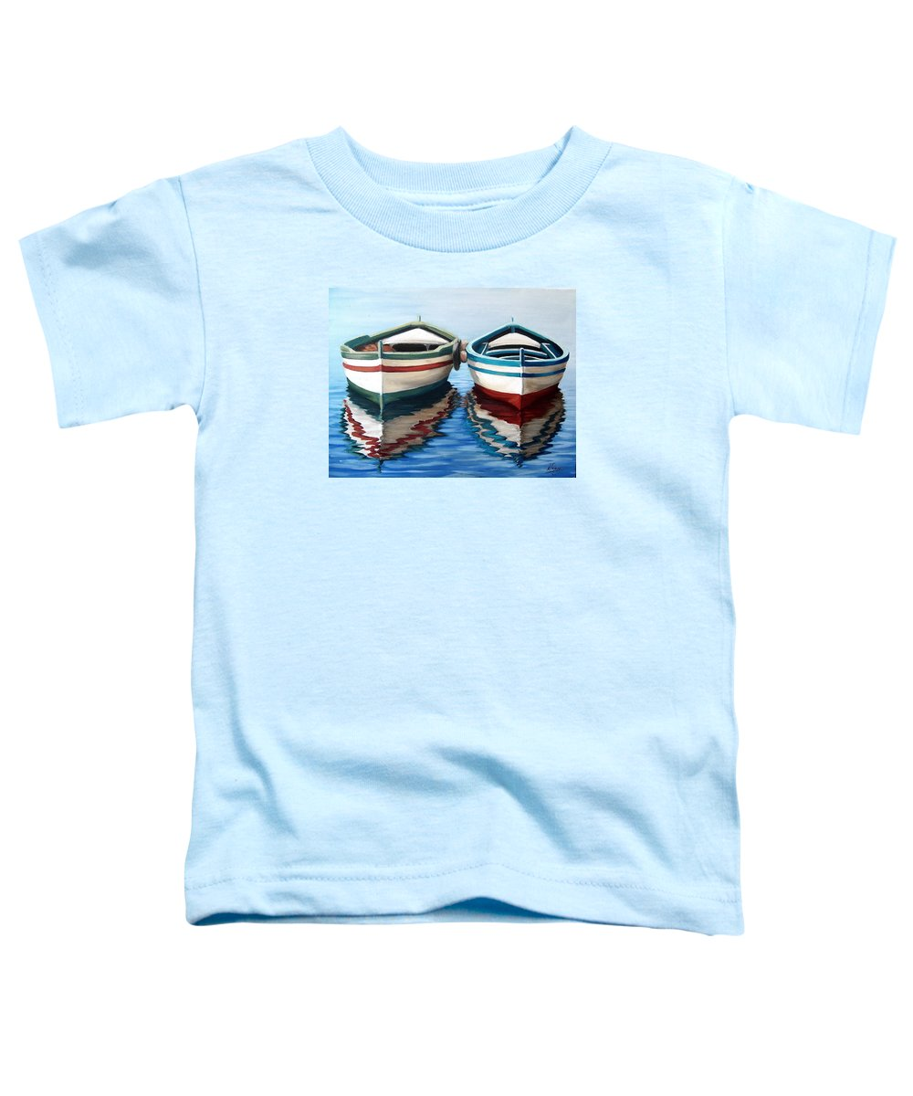 Seascape Sea Boat Reflection Water Ocean Toddler T-Shirt featuring the painting Together by Natalia Tejera