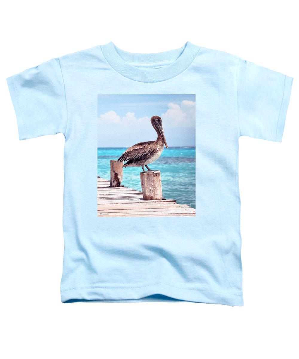 Beautiful Toddler T-Shirt featuring the photograph Treasure Coast Pelican Pier Seascape C1 by Ricardos Creations