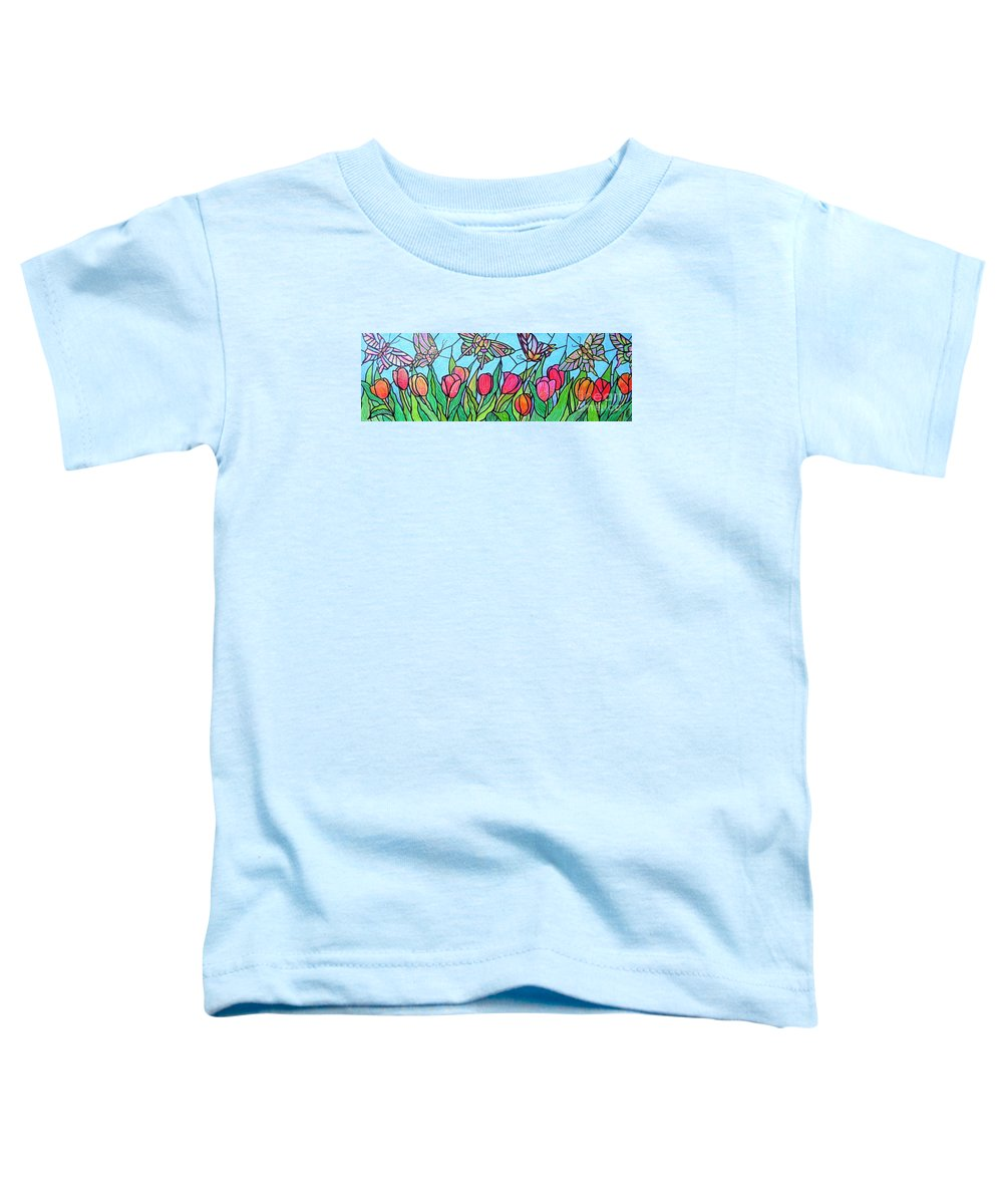 Spring Toddler T-Shirt featuring the painting Tulips And Butterflies by Jim Harris
