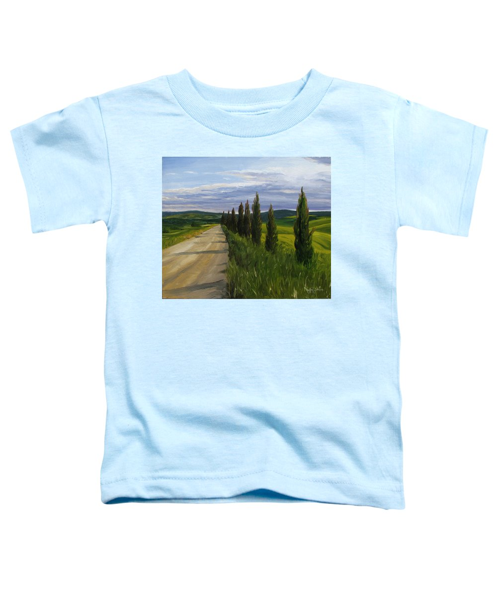 Toddler T-Shirt featuring the painting Tuscany Road by Jay Johnson