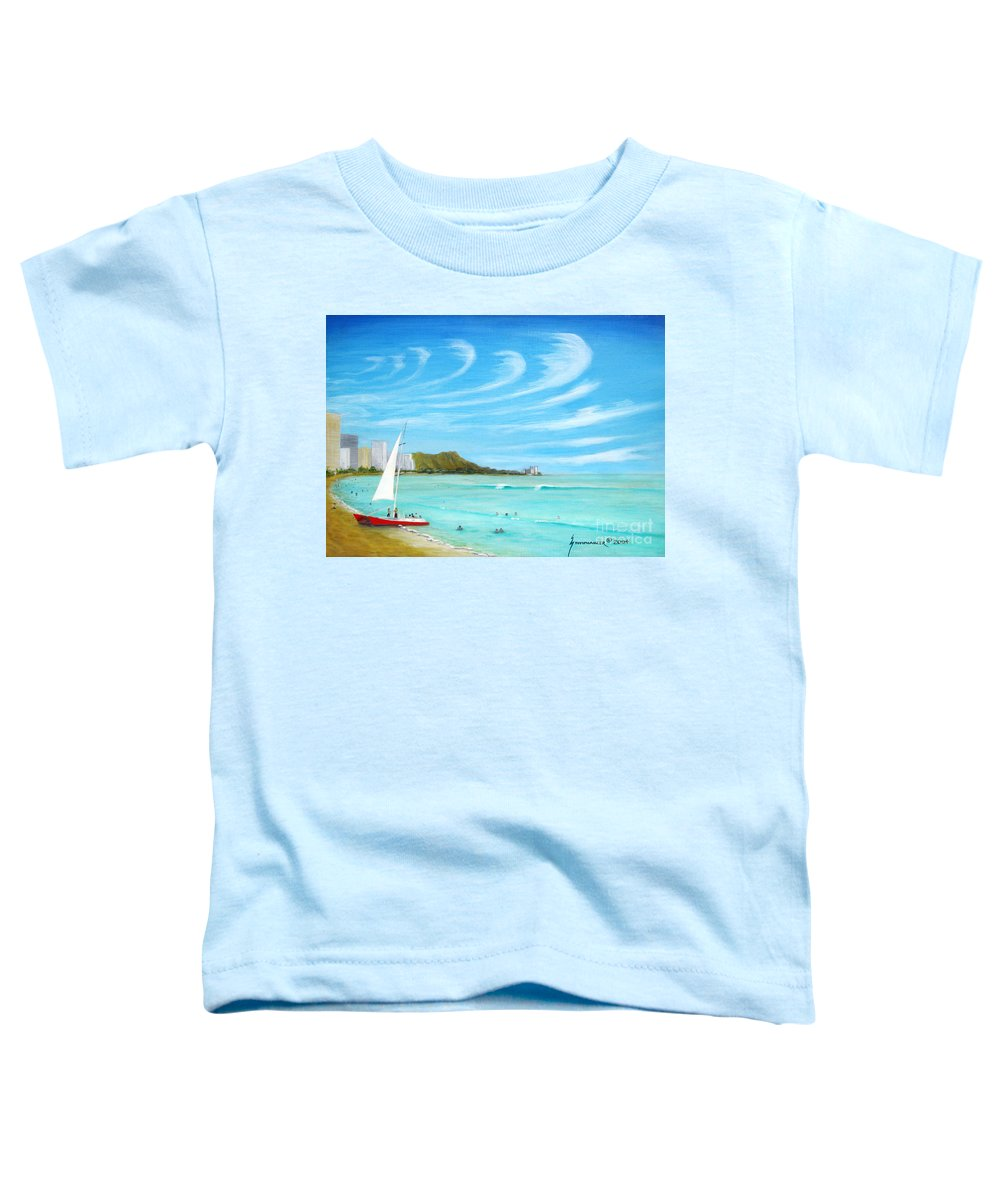 Waikiki Toddler T-Shirt featuring the painting Waikiki by Jerome Stumphauzer