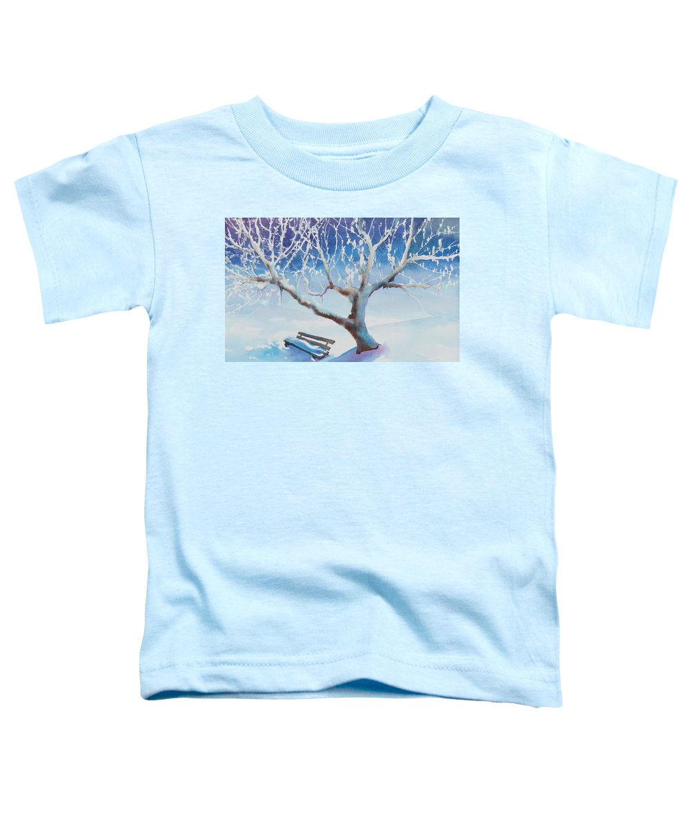 Snow Toddler T-Shirt featuring the painting Waiting For Spring by Ruth Kamenev