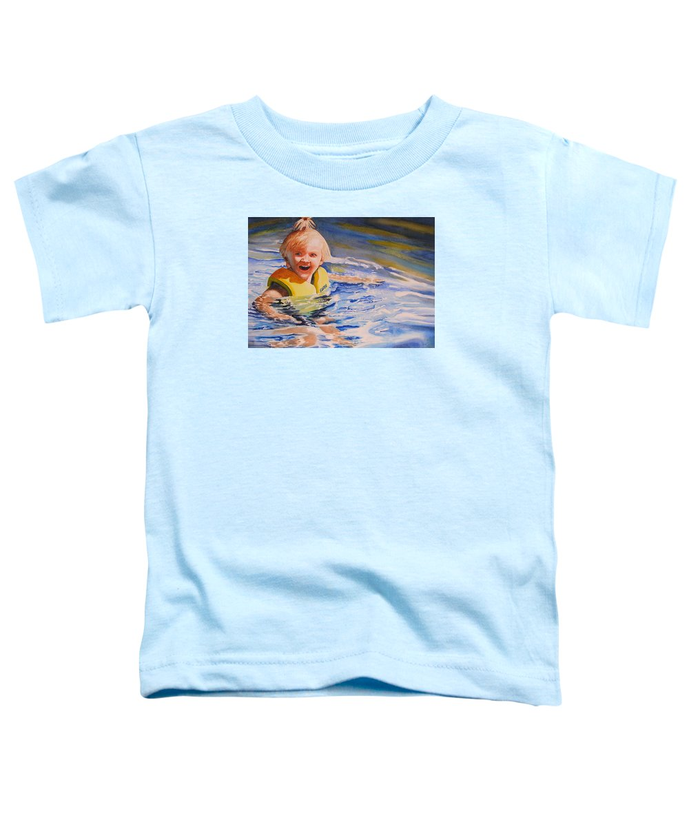 Swimming Toddler T-Shirt featuring the painting Water Baby by Karen Stark