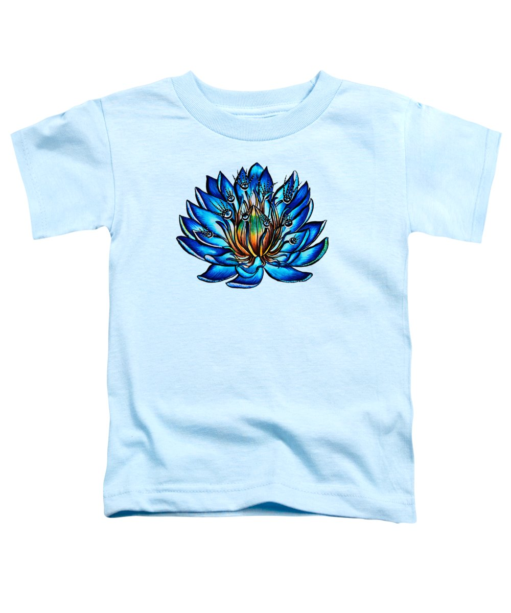 Nature Toddler T-Shirt featuring the drawing Weird Multi Eyed Blue Water Lily Flower by Boriana Giormova
