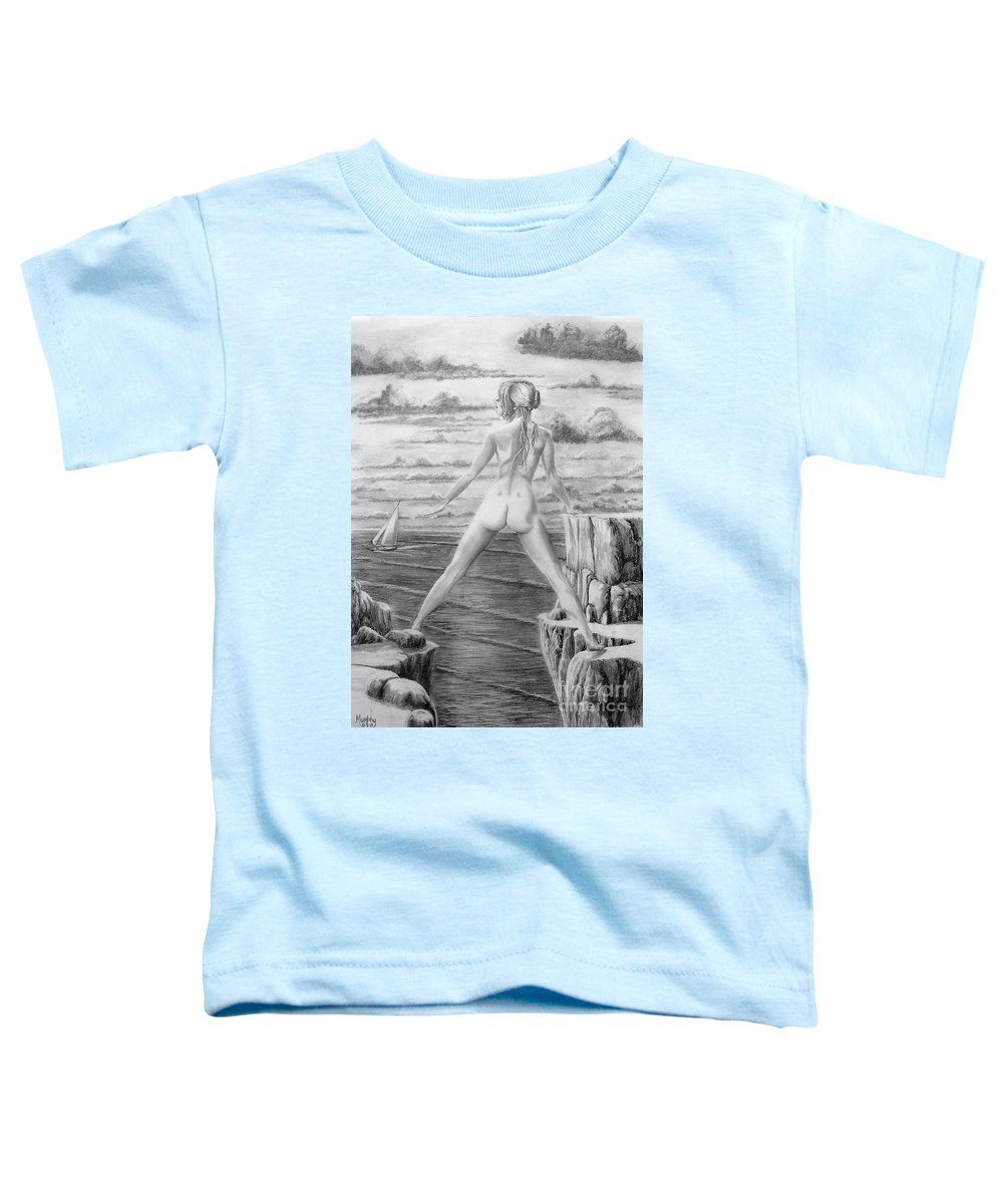 Nude Toddler T-Shirt featuring the drawing Wendy From Memory. by Murphy Elliott