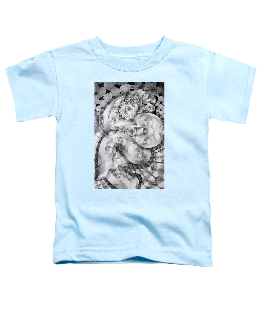 Art Toddler T-Shirt featuring the drawing Whim by Myron Belfast