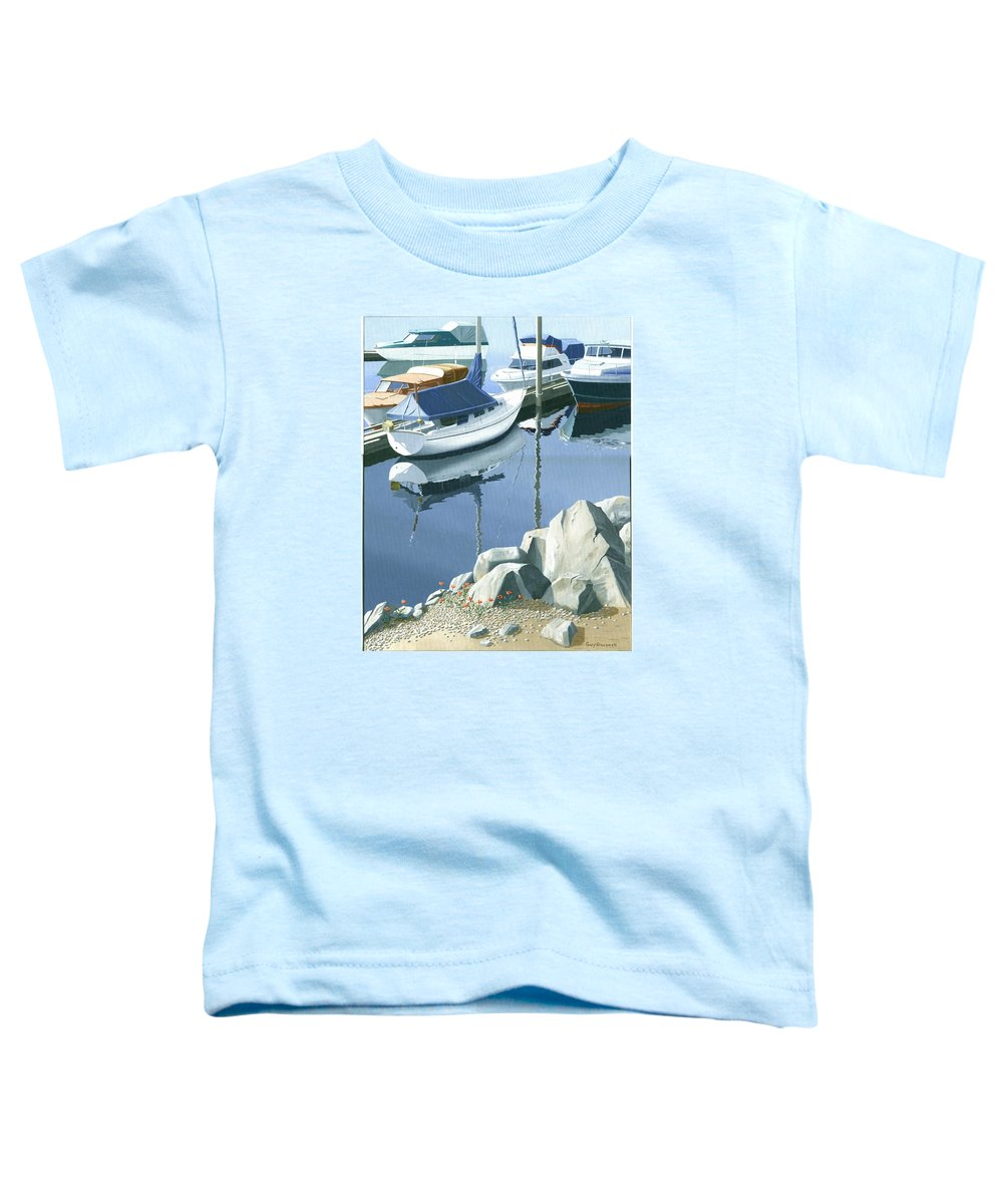 Sailboat Toddler T-Shirt featuring the painting Wildflowers On The Breakwater by Gary Giacomelli