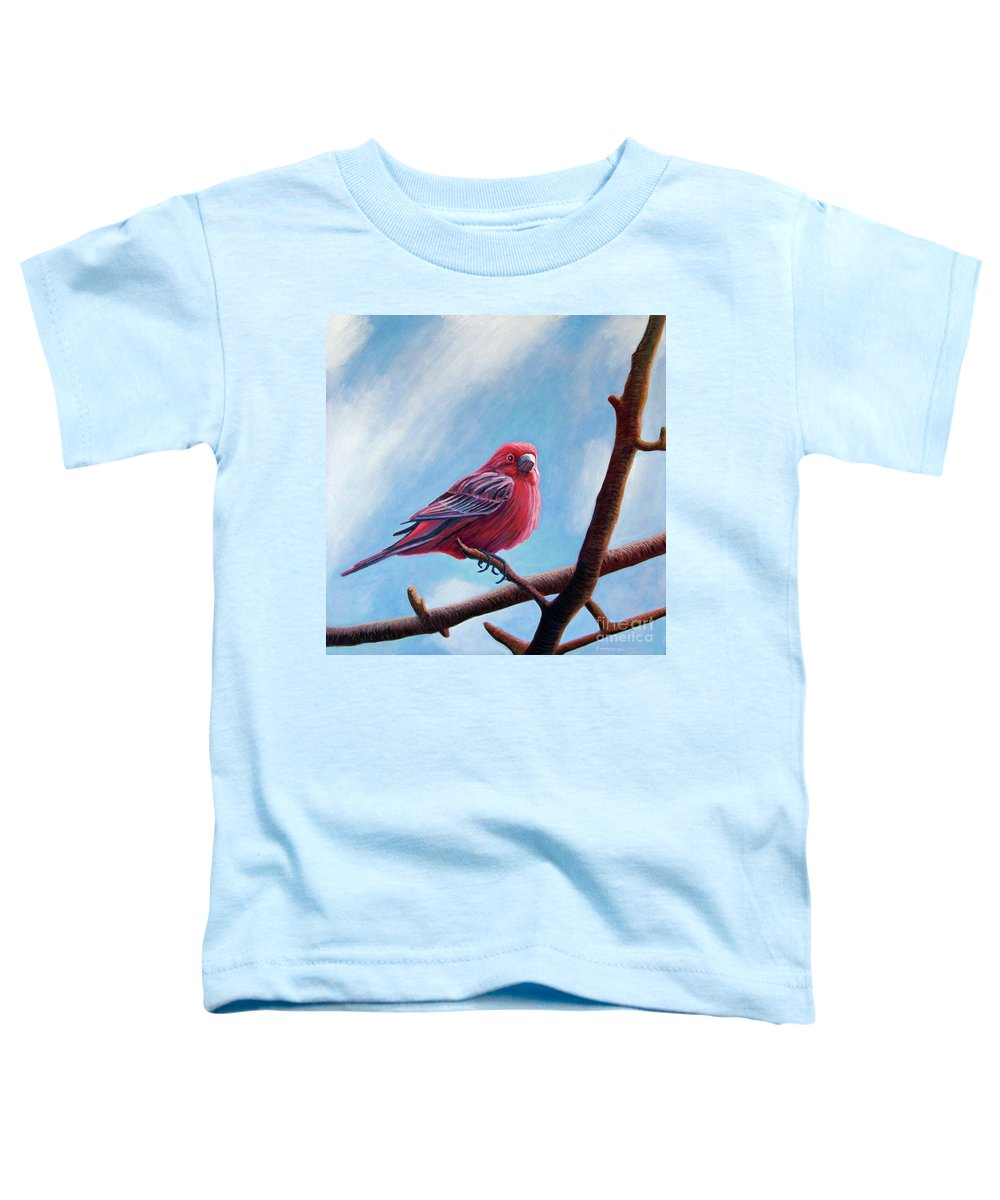 Bird Toddler T-Shirt featuring the painting Winter Finch by Brian Commerford