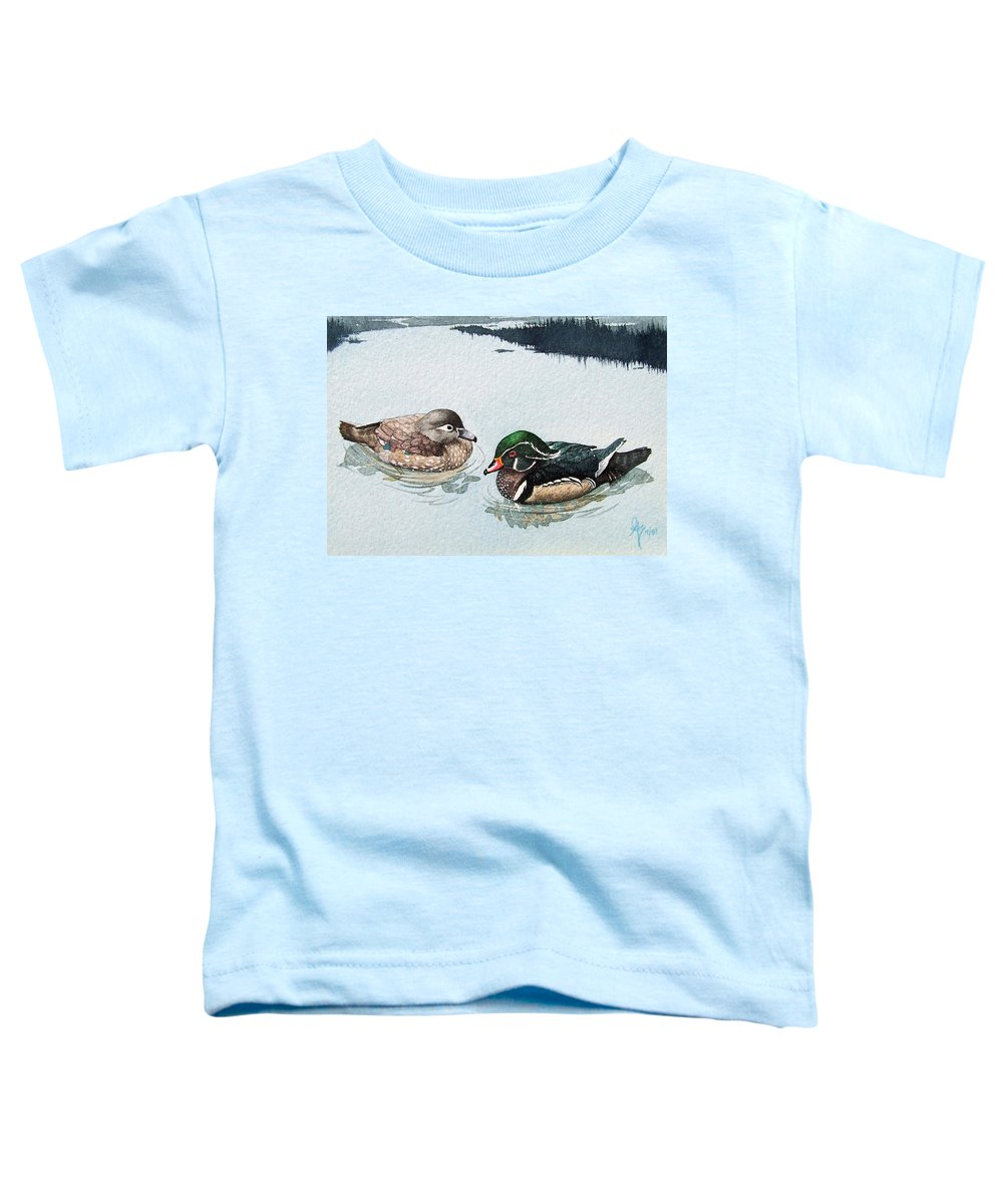 Ducks Toddler T-Shirt featuring the painting Wood Ducks by Gale Cochran-Smith
