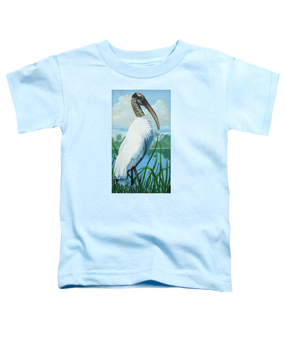 Bird Toddler T-Shirt featuring the painting Wood Stork by D T LaVercombe