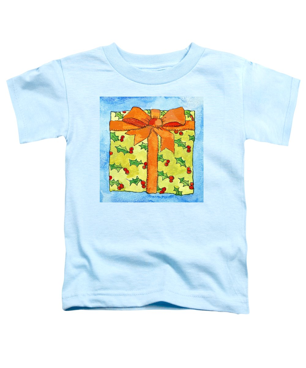 Present Toddler T-Shirt featuring the painting Wrapped Gift by Jennifer Abbot